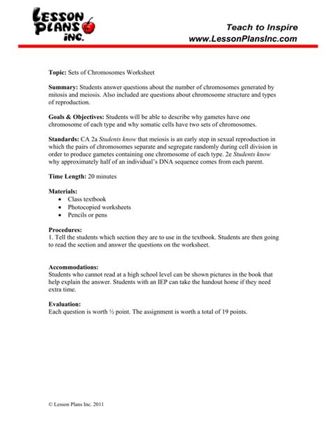 Number Of Chromosomes Worksheet Answers by Number Of Chromosomes Worksheet Worksheets Releaseboard