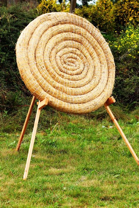 backyard archery target straw archery target practice outdoor background to use in graphic project as