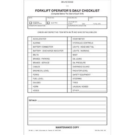 forklift inspection checklist template safety tag plastic forklift inspection