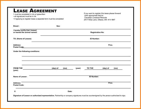 generic lease agreement template free sle templates