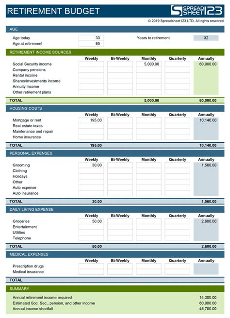 Excel Retirement Budget Template Retirement Budget Planner Free Template For Excel