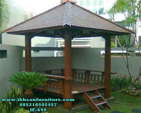 Gazebo Dengan Kayu Kelapa Gzb0002 model gazebo taman terbaru jual gazebo kayu kelapa atap