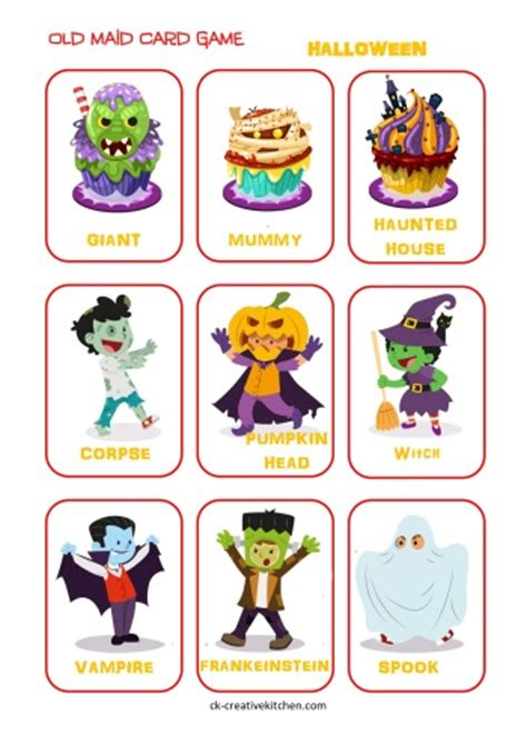 printable halloween card games halloween old maid cards free printables creative kitchen