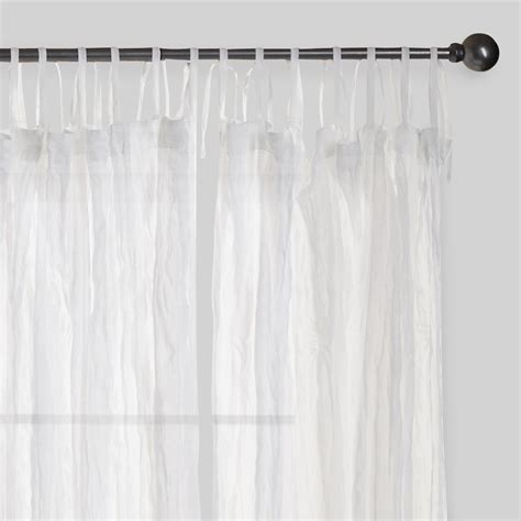 cotton curtains white crinkle sheer voile cotton curtains set of 2 84 quot l