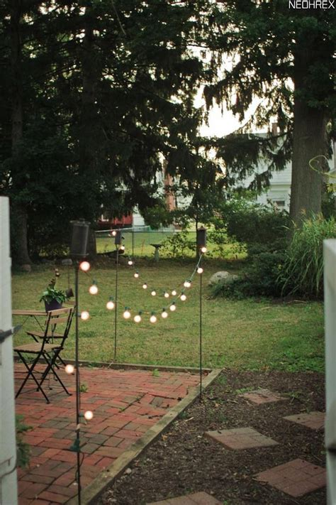 tiki torches  solar lights border patio area simple