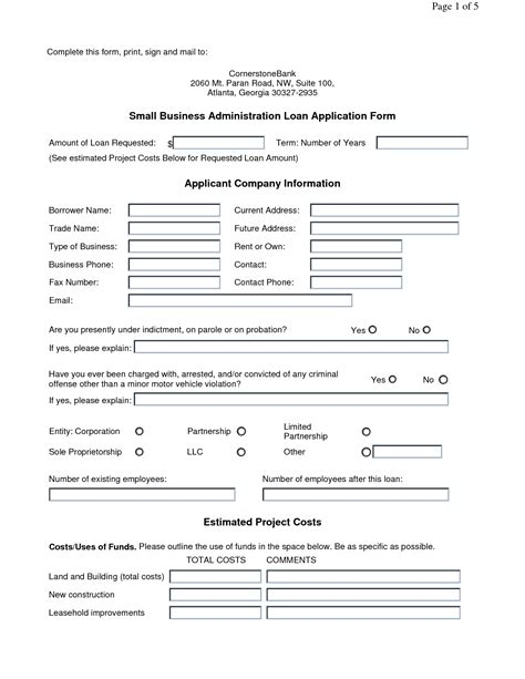 business loan application form free printable documents