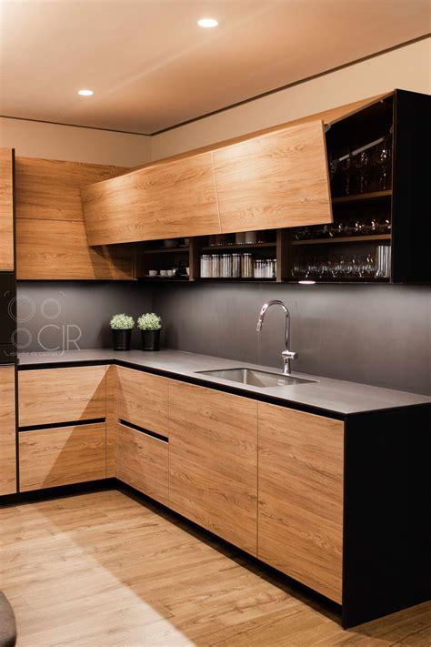 cocina negra  madera  isla moderna cocinas cjr santos