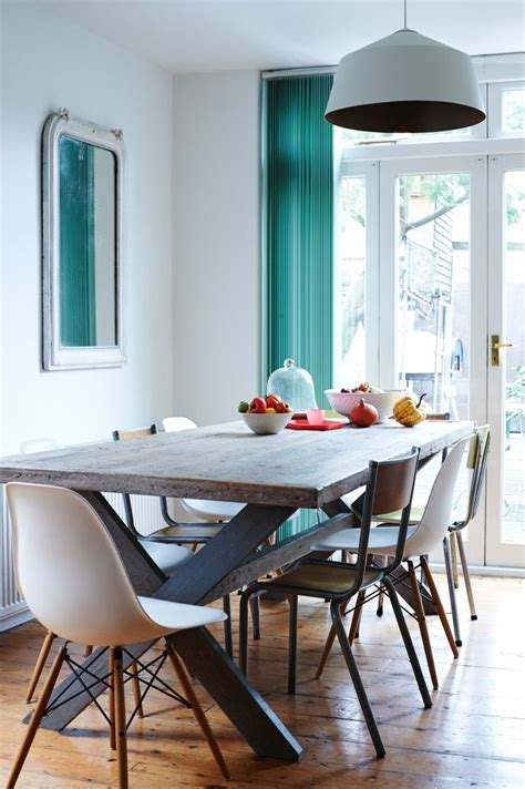 Teal Kitchen Table Wood Dining Room Table And Teal Curtain With White Eames Molded Plastic Chairs In Jones