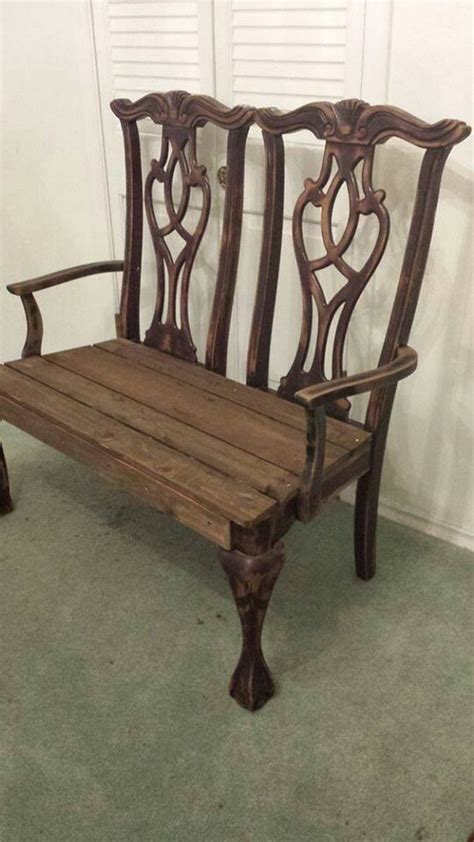 bench made from old chairs build a garden bench from two old dining chairs diy