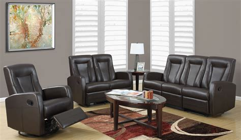 3 reclining living room set 82br 3 brown bonded leather reclining living room set