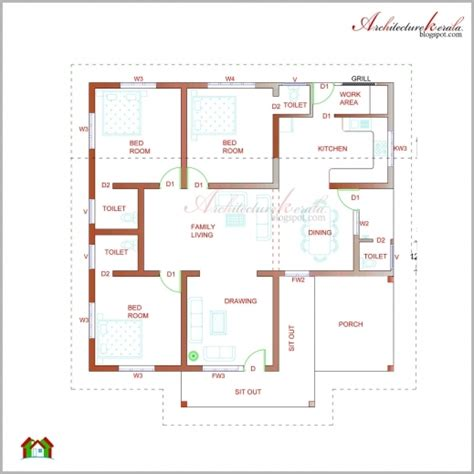 building ground floor plan architectural drawing of simple residential building