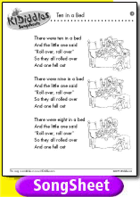 the bed song lyrics ten in a bed song and lyrics from kididdles