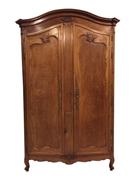 antique louis xv carved cherry armoire wardrobe chairish