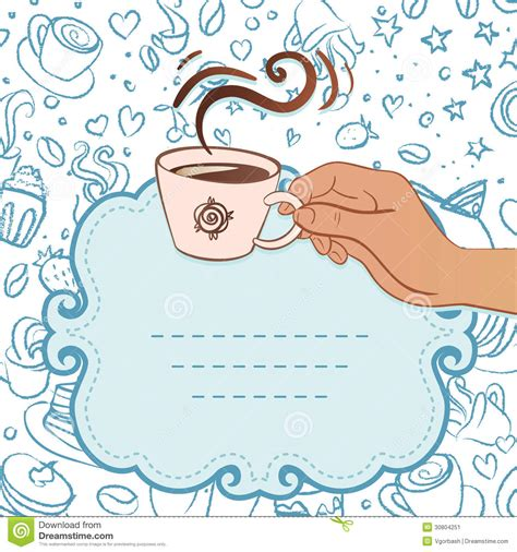 Free Coffee Invitation Template Tea Party Invitation Vintage Style Frame With Hand Holding Cup Coffee Morning Invitations Templates