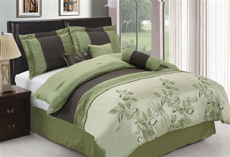 leaf comforter 7pcs king sage leaf embroidered comforter set ebay