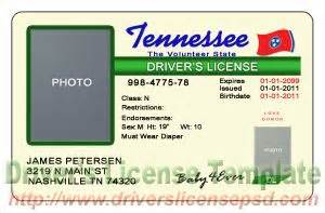 Tennessee Drivers License Template drivers license drivers license drivers license