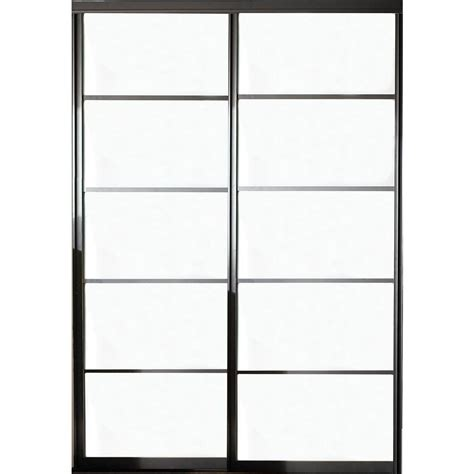 Aluminum Closet Doors Contractors Wardrobe 48 In X 96 In Silhouette 5 Lite Aluminum Bronze Finish Interior Bypass