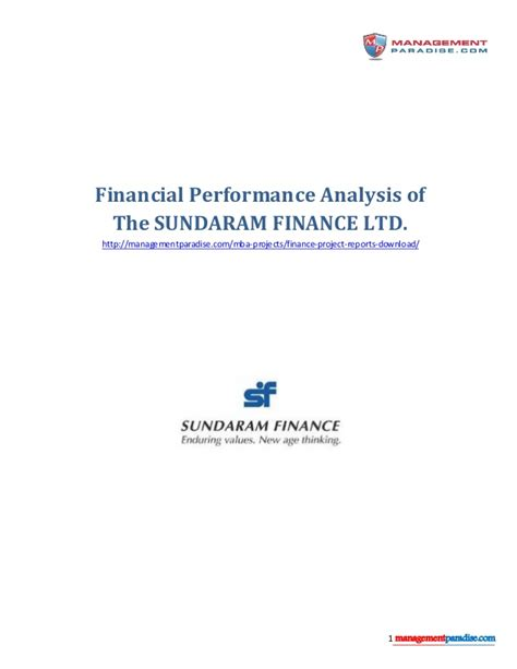 Financial Performance Analysis Project Report For Mba Pdf by Sundaram Finance Ltd Financial Analysis Study