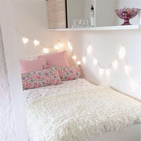 girly bed with pretty lights pink interiors pinterest pretty teenagers love girly tumblr pink girls decor