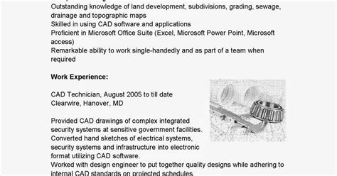 Autocad Technician Sle Resume by Resume Sles Cad Technician Resume Sle