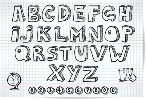 doodle print font free doodle font on lined sheet stock vector image of doodle