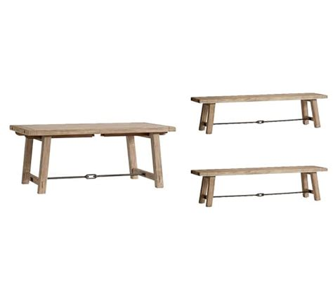 benchwright bench benchwright extending dining table bench set pottery barn
