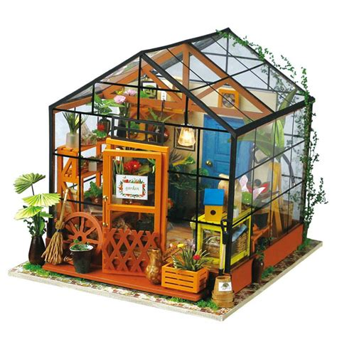 diy house robotime diy miniature dollhouse kit dg104 cathy s flower house with led light tools and