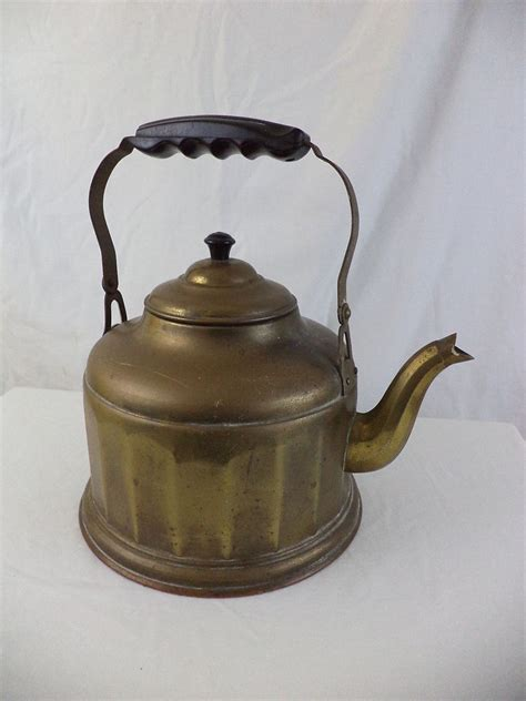 vintage brass copper country decorative stove kettle