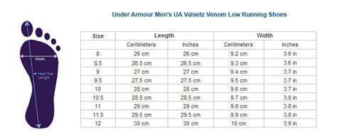 shoe size chart under armour under armour men s ua valsetz venom low running shoes