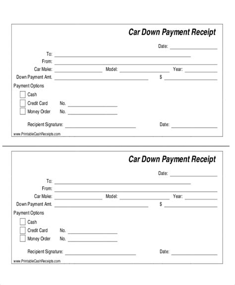 Car Payment Receipt Template by 7 Sle Payment Receipt Forms Sle Templates