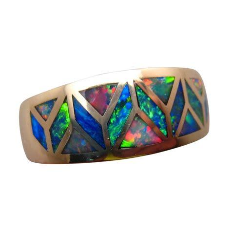 Opal Rings by Amazing Geometric Inlay Opal Ring 14k Gold Opal Rings