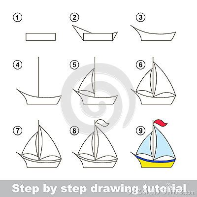 boat cartoon step by step drawing tutorial how to draw a boat vector illustration