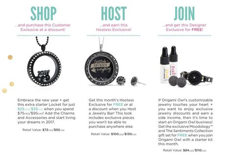 Origami Owl Host A - origami owl january 2017 exclusives shop host and join