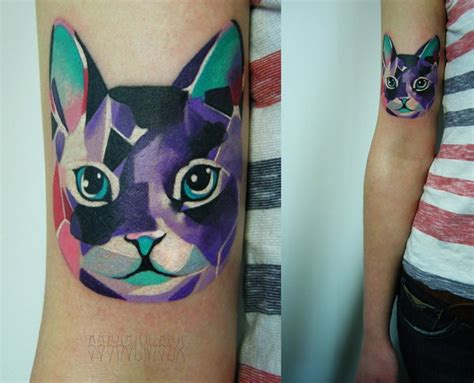 geometric tattoo animal color arm cat abstract tattoo by sasha unisex