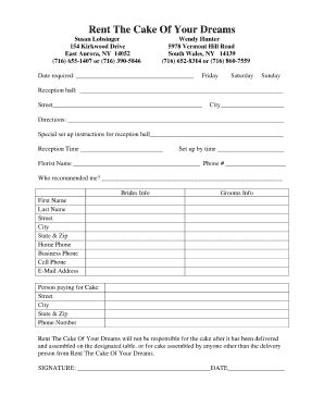 sle cake order form template wedding cake contract forms 5000 simple wedding cakes