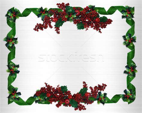 christmas border holly berries horizontal stock photo
