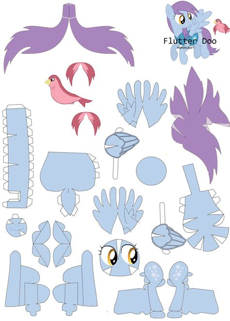 Paper Craft Patterns - flutterdoo papercraft pattern by rainyhooves on deviantart