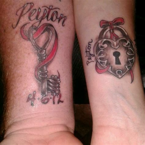 heartbeat tattoo matching matching lock heart tattoos with our sons name