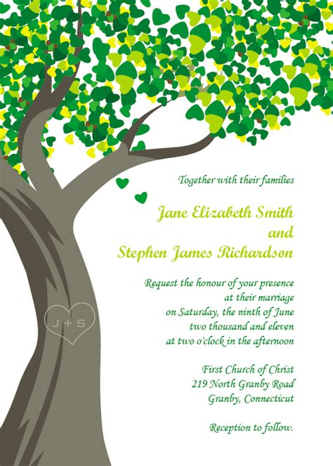 Family Reunion Invites Template Business Tree Wedding Invitations Templates