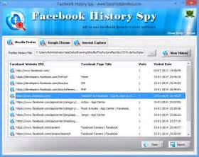 Is showing the recovered facebook history list from firefox browser
