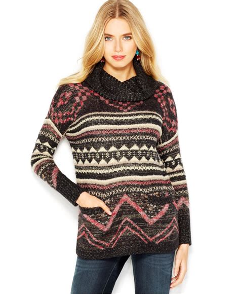 Sweater Tribal lucky brand lucky brand cowl neck tribal patterned sweater lyst