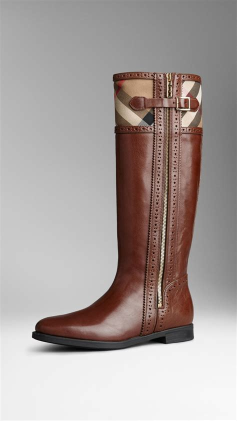 burberry brogue detail house check boots in brown