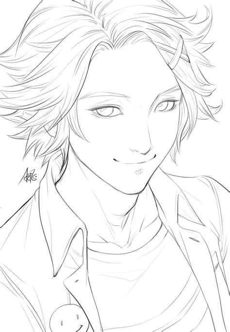 sketchbook x drawings yoosung sketch for coloring by artgerm on deviantart