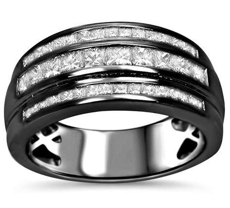 Black Sapphire 11 66 Ct mens 1 05ct princess cut wedding band ring 14k