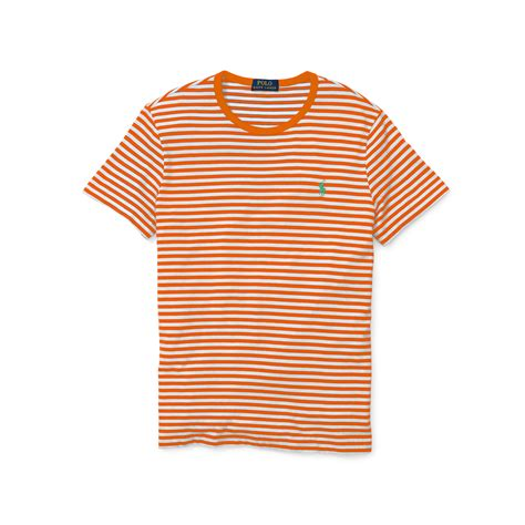 White Shirt With Orange by Lyst Polo Ralph Striped Cotton Jersey T Shirt In Orange For