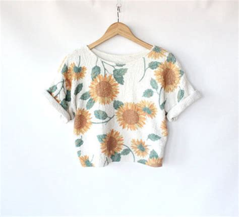 Flower Top Blouse Crop Top shirt top crop tumbr cuff sleeve sunflower pattern