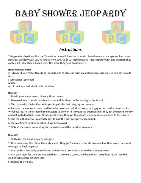 Baby Shower Questionnaire by Baby Shower Jeopardy Digital Trivia Baby