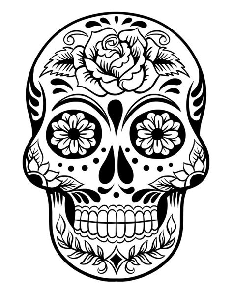 drawn sugar skull candy skull pencil and in color drawn