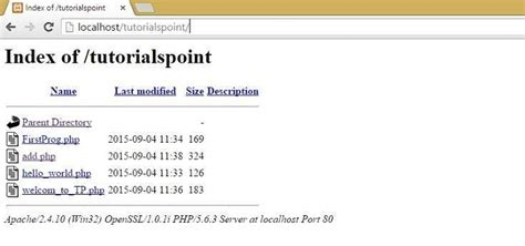 tutorialspoint php start php xp server