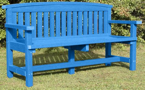 plastic benches uk adult traditional three seat memorial bench weatherproof recycled plastic blue